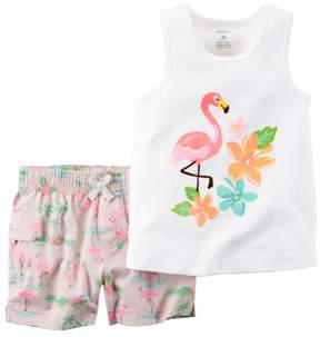 Carter's Baby Clothing Outfit Girls 2-Piece Tank & Short Set Flamingo Pink