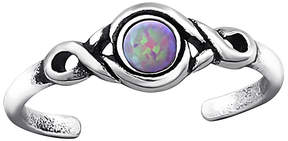 Celtic Gray Opal & Silver-Plated Scroll Adjustable Toe Ring
