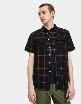 Saturdays NYC Laszlo SS Boucle Window Check Shirt in Black