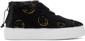 Joshua Sanders Black Fuzzy Smile High-Top Sneakers