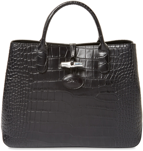 Longchamp Women's Roseau Croco Embossed Small Leather Tote