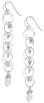 Chan Luu Chain Hoop Drop Earrings with Pearls