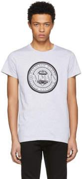 Balmain Grey Coin Logo T-Shirt