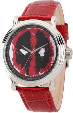 Marvel Mens Deadpool Vintage Red Leather Strap Watch