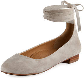 Neiman Marcus Cherie Suede Ankle-Wrap Flat, Gray