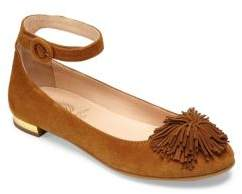 Aquazzura Mini Kid's Mini Sunshine Suede Ankle-Strap Flats