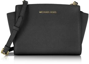 Michael Kors Selma Medium Black Saffiano Leather Messenger - BLACK - STYLE