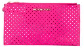 MICHAEL Michael Kors Laser Cut Leather Clutch - PINK - STYLE