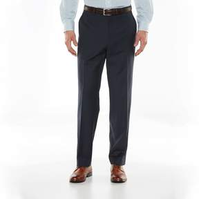 Chaps Big & Tall Classic-Fit Navy (Blue) Wool-Blend Comfort Stretch Flat-Front Suit Pants