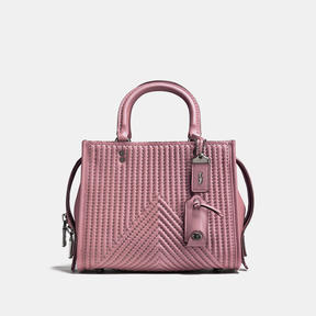 COACH Coach Rogue 25 With Qulting And Rivets - BLACK COPPER/DUSTY ROSE - STYLE