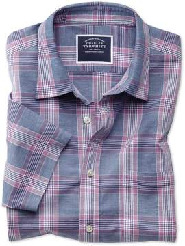Charles Tyrwhitt Classic Fit Cotton Linen Short Sleeve Blue and Purple Check Cotton Linen Mix Casual Shirt Single Cuff Size XL