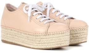 Miu Miu Espadrille-style platform leather sneakers
