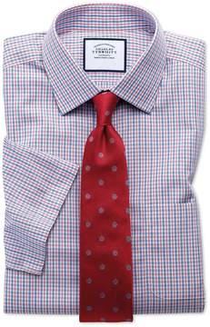 Charles Tyrwhitt Slim Fit Non-Iron Poplin Short Sleeve Blue and Red Cotton Dress Shirt Size 14.5/Short
