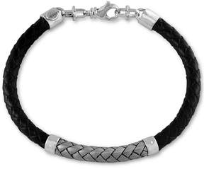 Effy Men's Woven Bracelet in Leather and Stainless Steel