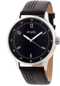 Simplify Silver & Black The 5700 Leather-Strap Watch