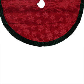 Asstd National Brand 48 Poinsettia Embossed Red Christmas Tree Skirt with Green Velveteen Trim