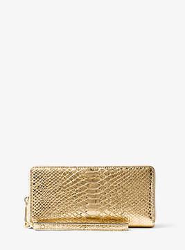 Michael Kors Jet Set Travel Metallic Embossed-Leather Continental Wristlet - GOLD - STYLE