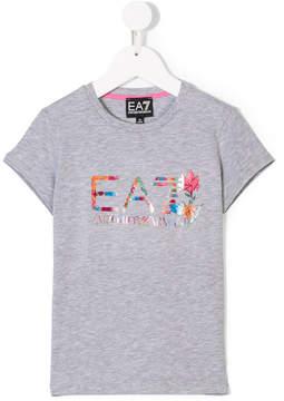 Emporio Armani Kids floral logo print T-shirt