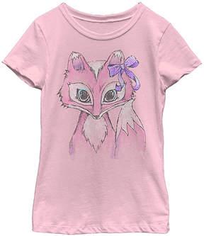 Fifth Sun Pink Bow Fox Tee - Girls