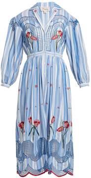 Temperley London Notch-lapel dropped-shoulder striped dress