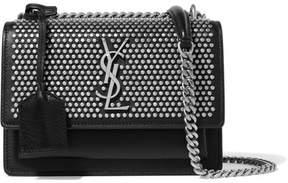 Saint Laurent Sunset Studded Textured-leather Shoulder Bag - Black - BLACK - STYLE
