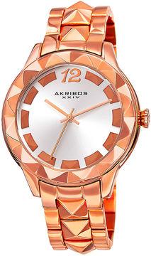 Akribos XXIV Ornate Womens Rose-Tone Bracelet Watch