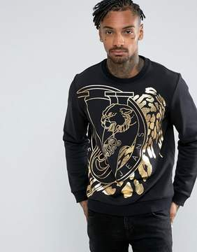 Versace Sweatshirt In Black With Large Foil Logo