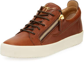 Giuseppe Zanotti Men's Zip-Side Low-Top Sneaker, Medium Brown