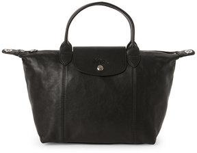 Longchamp Black Le Pliage Cuir Small Satchel - BLACK - STYLE