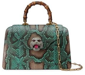 Gucci Medium Gatto Genuine Python Satchel - Green - GREEN - STYLE