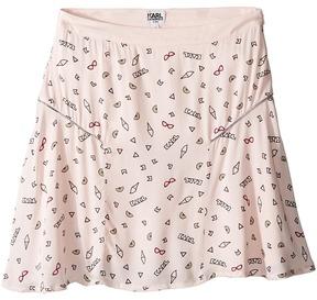 Karl Lagerfeld Viscose Skirt w/ All Over Ice Cream Print Girl's Skirt