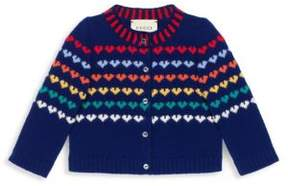 Gucci Baby's Heart Knit Wool Cardigan
