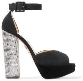 Charlotte Olympia Eugenie Embellished Suede Platform Sandals - Black