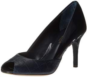 Lauren Ralph Lauren LAUREN by Ralph Lauren Womens Ronna Leather Peep Toe Modern Navy