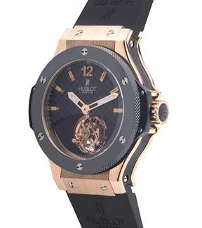 Hublot Tourbillon Solo Bang Black Carbon Fiber Dial 18kt Rose Gold Black Rubber Men's Watch