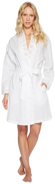 Eileen West Cotton Embroidered Short Wrap Robe Women's Robe