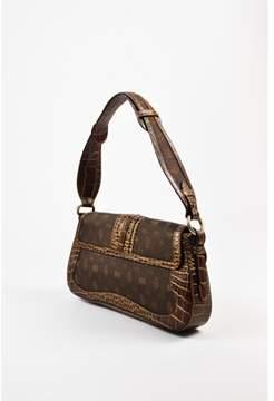 Etro Pre-owned Brown Canvas Leather Printed Crocodile Embossed Flap Shoulder Bag.