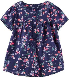 Osh Kosh Girls 4-8 Floral Shirred Shirt
