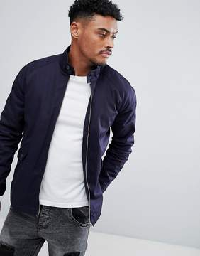 Asos Harrington Jacket With Funnel Neck In Navy