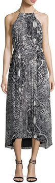 Donna Morgan Halter-Neck Sleeveless Pleated Printed Midi Dress