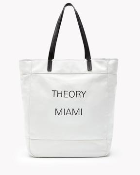 Theory Miami Box Tote in Canvas and Leather