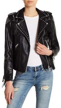 Blank NYC BLANKNYC Studded Fringe Faux Leather Jacket