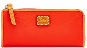 Dooney & Bourke Patterson Leather Zip Clutch Wallet - SALMON - STYLE
