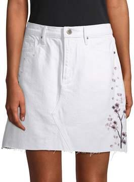 Driftwood Women's Stef Embroidered Denim Skirt - White, Size 28 (4-6)
