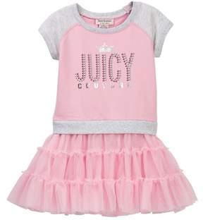 Juicy Couture Pink Raglan Sweatshirt Top & Tulle Bottom Dress (Toddler Girls)