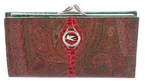 Etro Crocodile-Trimmed Paisley Wallet