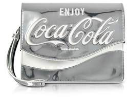 Pinko Women's Silver Patent Leather Clutch.