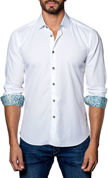 Jared Lang Contrast-Facing Textured Sport Shirt, White