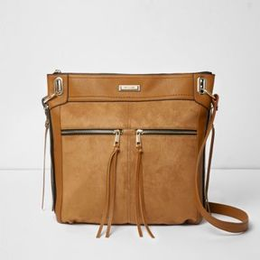 River Island Womens Tan zip front cross body messenger bag