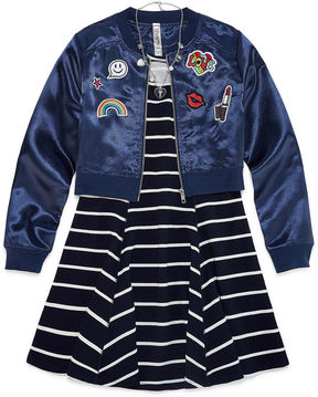 Knitworks Knit Works Skater Dress with Bomber Jacket and Necklace - Girls' 7-16